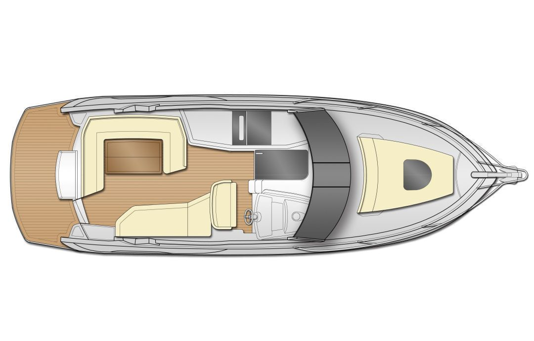 A large stern platform and direct access from the helm to the bow extends the Beneteau Gran Turismo 35's outdoor living areas.