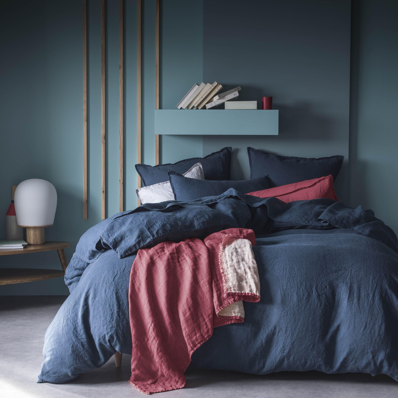 plaid linge de lit Linge de lit Rêve de bleu nuit et plaid Jeté de lin lie de vin  plaid linge de lit