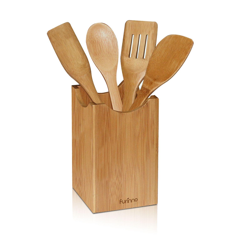 Wooden kitchen utensil holder - Wooden Kitchen Utensil Holder Flatware Storage Organizer Box