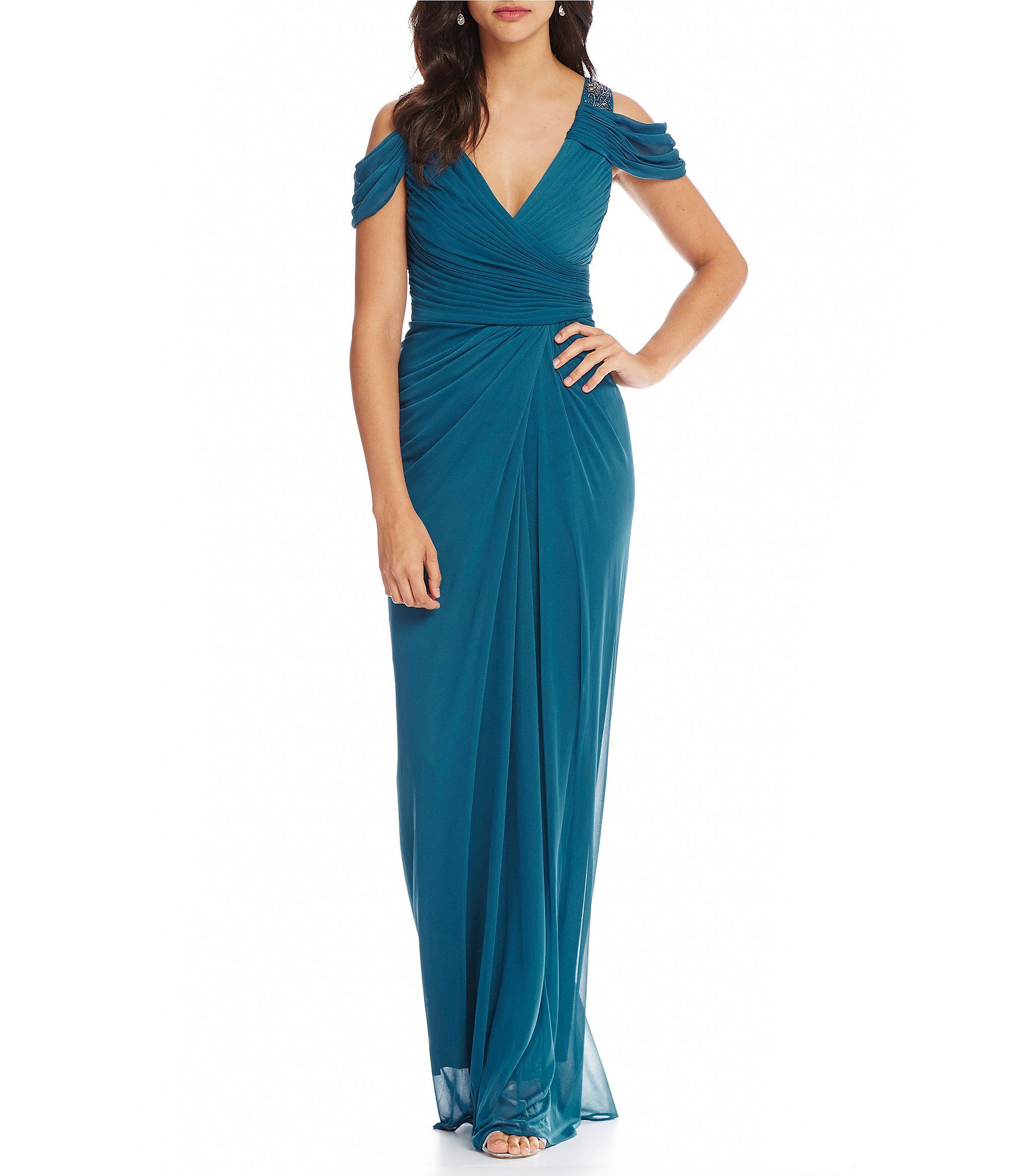 Shop for Adrianna Papell Cold Shoulder Ruched V-Neck Gown at ...