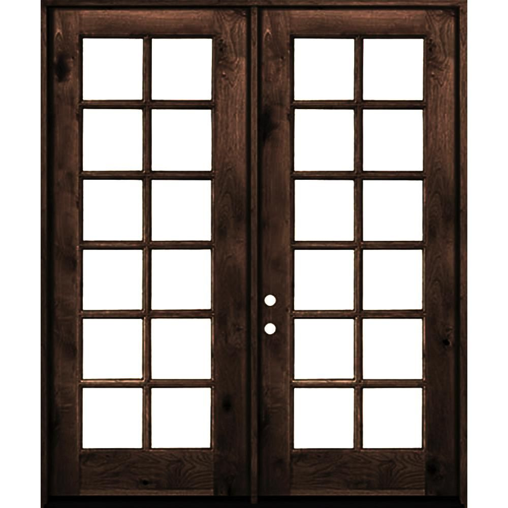 Krosswood Doors 64 In X 96 In French Knotty Alder Wood 12 Lite Clear Glass Red Mahogony Stain Right Active Double Prehung Front Door Red Mahogany Clear Glass Red Mahogany Stain Knotty Alder