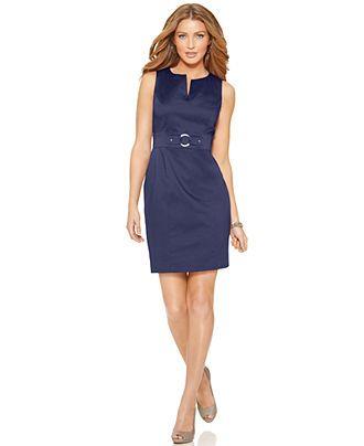 AGB Petite Dress, Sleeveless Splitneck Sheath - Dresses - Women - Macy's