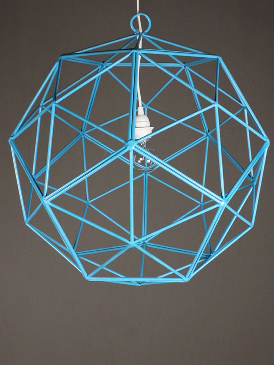 shapely harmony wondering how to add a bit of geometry to square rooms? the bakey street orb light, angled on all ends, adds interest from every perspective. made from the artistic melding of steel pentagons, thisturquoise pendant light blends the best of minimalist art with mathematical intrigue. made in the USA.
