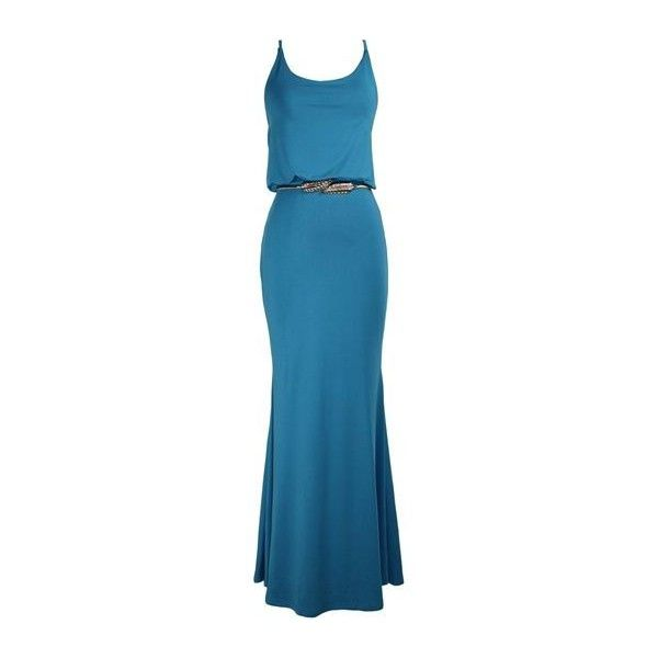Rotita Spaghetti Strap Round Neck Maxi Dress (31 LYD) ❤ liked on Polyvore featuring dresses, blue, patterned maxi dress, pattern dress, print maxi dress, blue dress and print dress