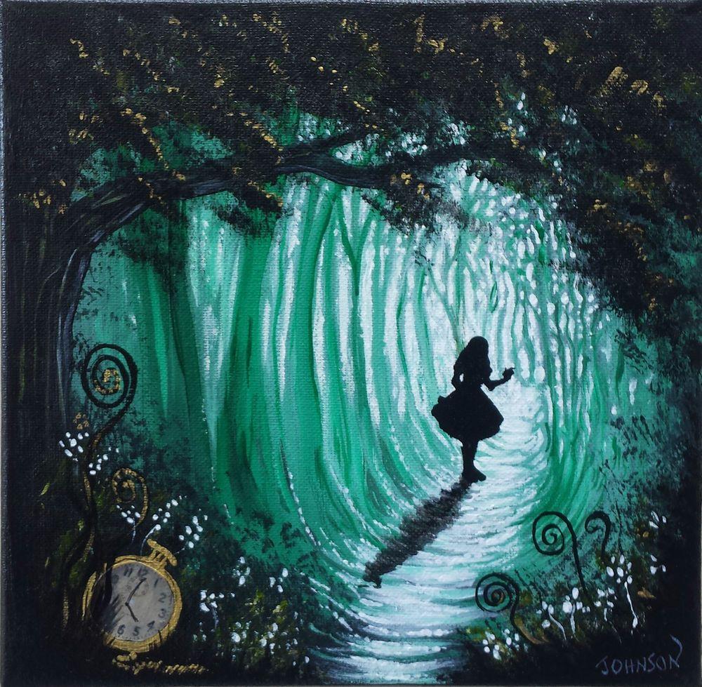 ooak original rare art painted alice in wonderland fantasy painting
