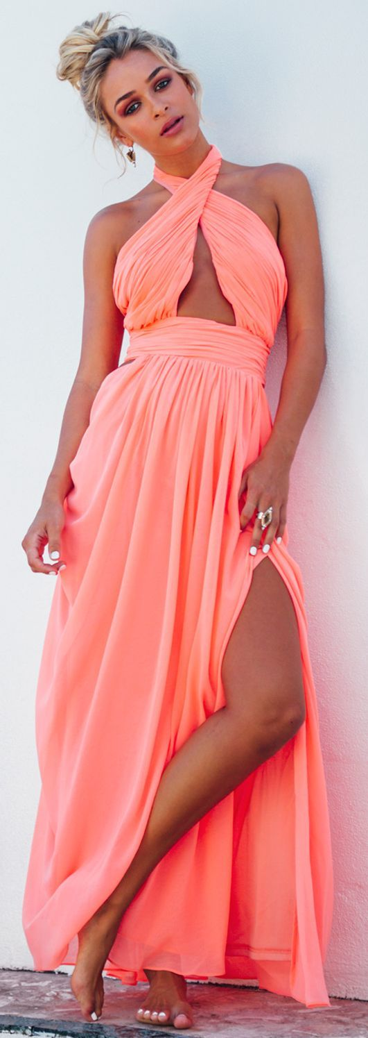Neon Coral Maxi Dress Beach Style by Sabo Skirt | Moda ...