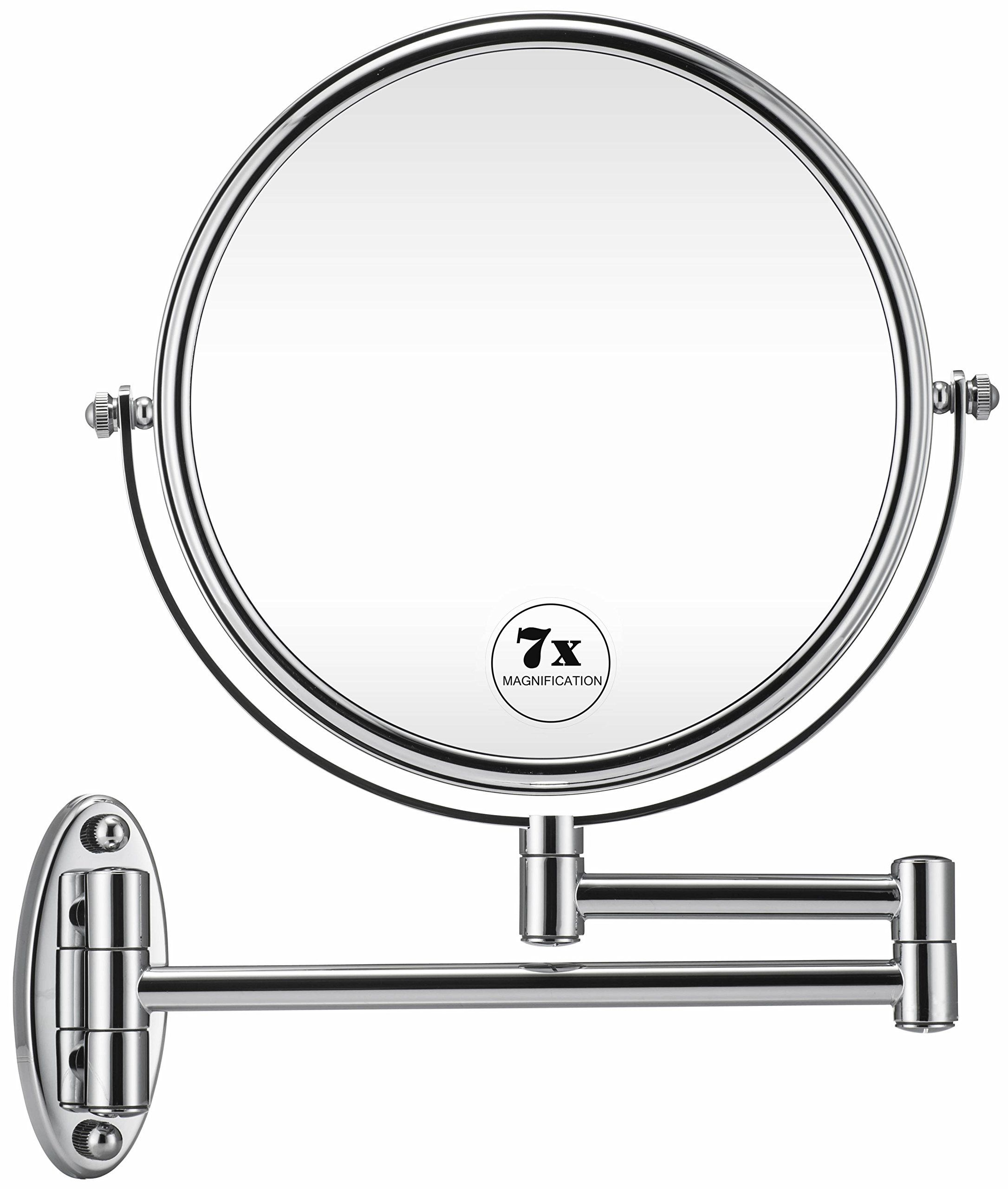 Gloriastar 7x Wall Mounted Makeup Mirror Double Sided Magnifying Makeup Mirror For Bathroom 8 Inch Extensio Wall Mounted Makeup Mirror Mirror Bathroom Mirror