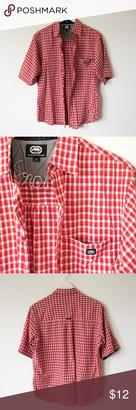 Casual pink dress shirt  MENS medium ecko unlimited plaid button up shirt  My Posh Closet