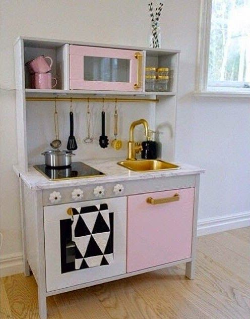 Mommo design ikea hacks for girls a girly makeover for duktig play kitchen