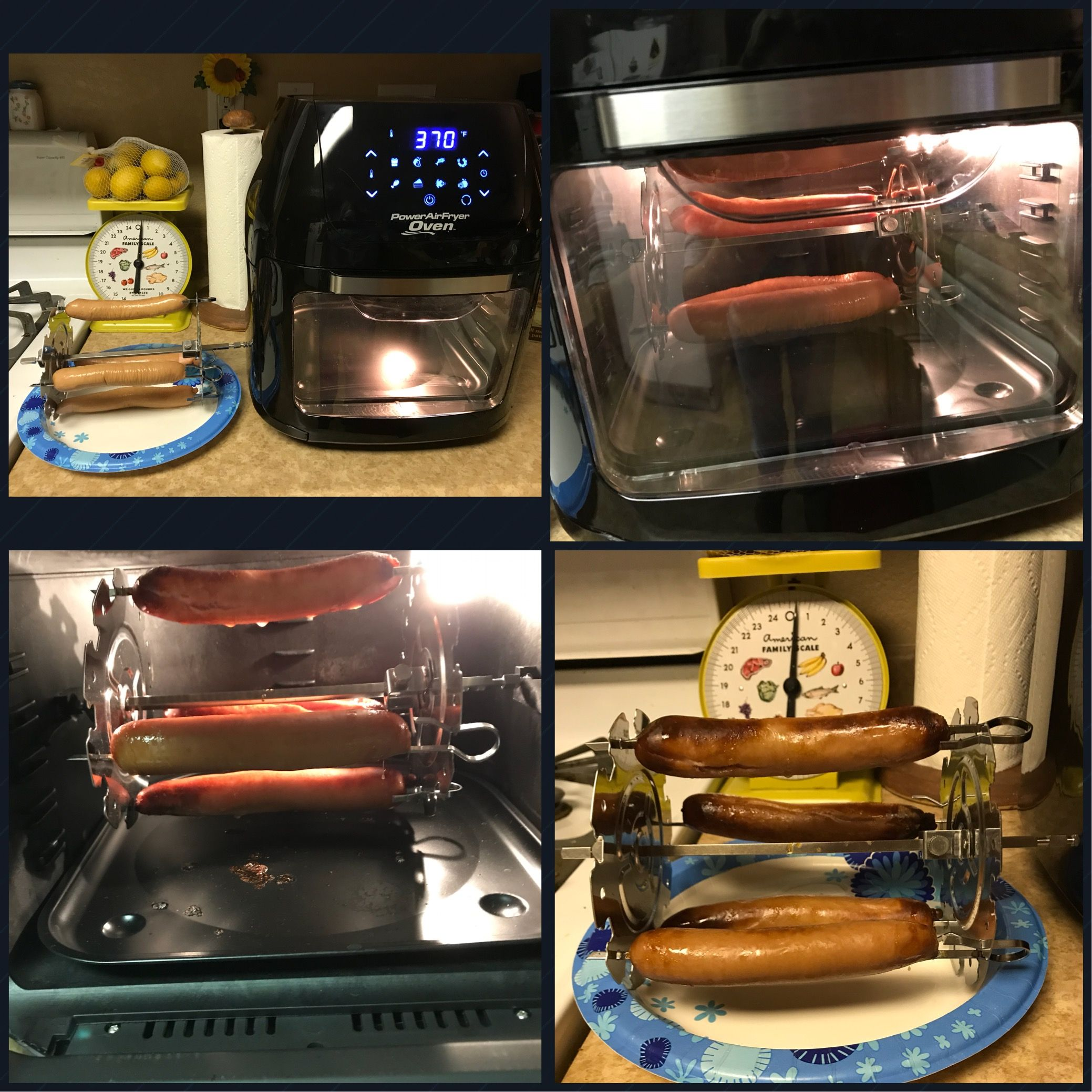 Power Airfryer Oven Hot Dogs On The Skewers Press The Rotisserie