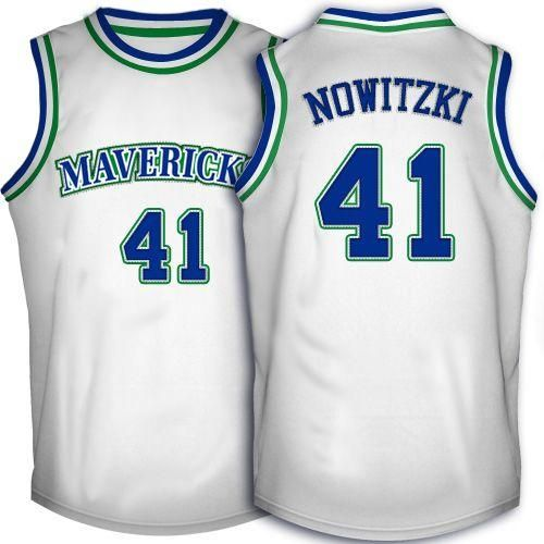 4b478eface0 mavericks 41 dirk nowitzki white throwback embroidered nba jersey21.50usd