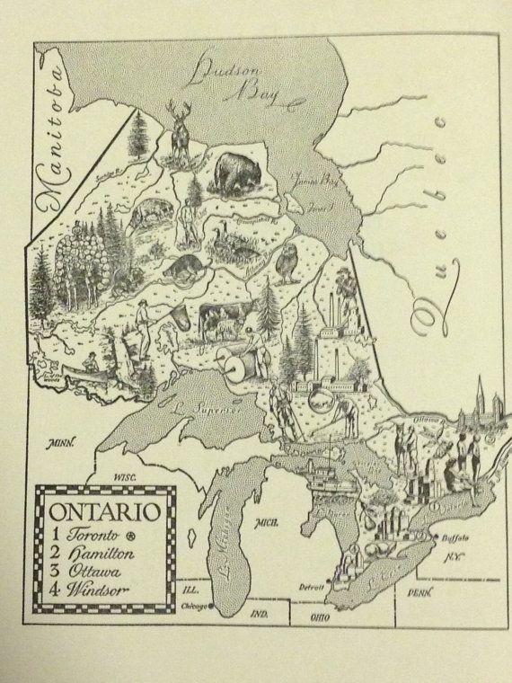 Toronto Canada World Map.Ontario Map Wall Art Map Of Canada World Travel Decor Toronto