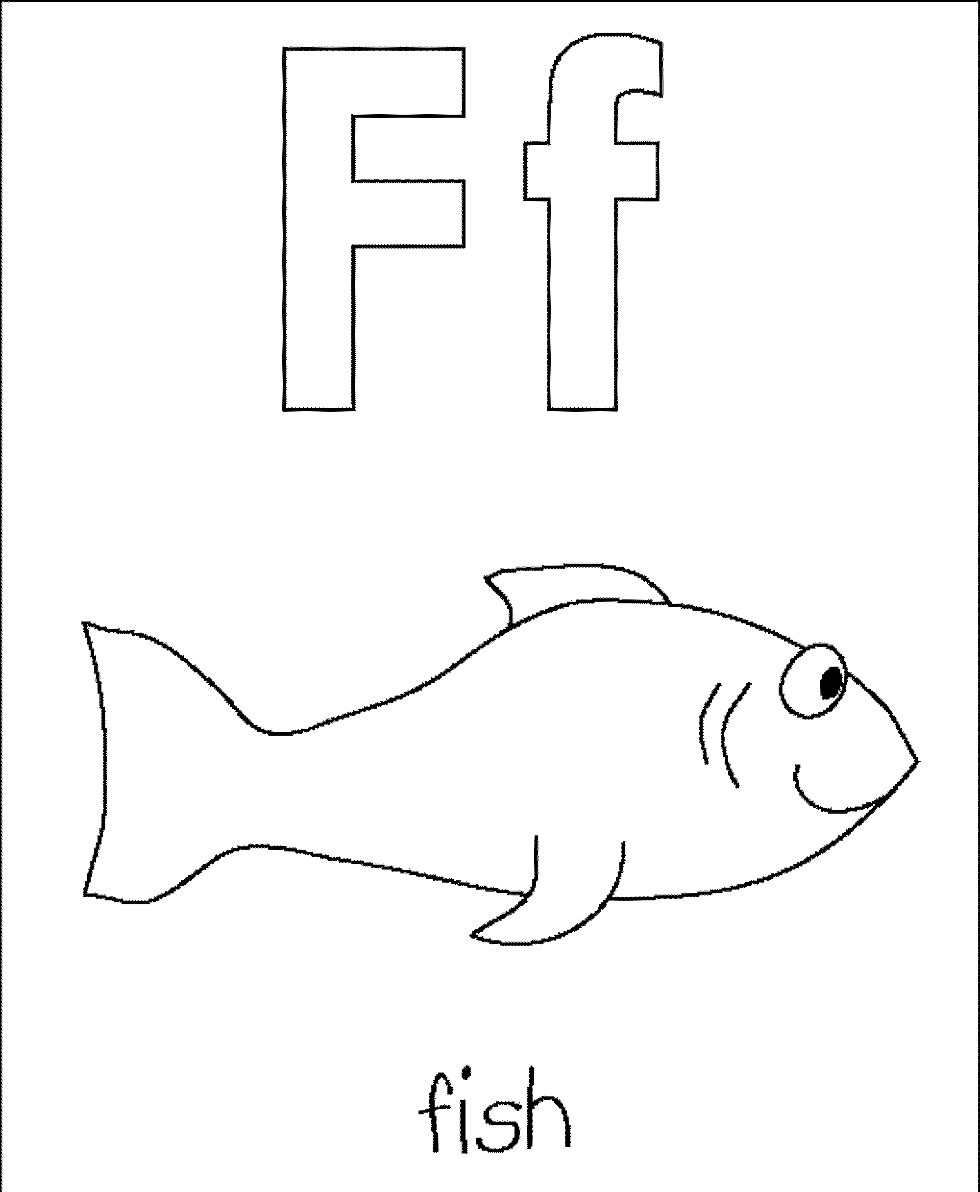 Letter F Coloring Page Fish