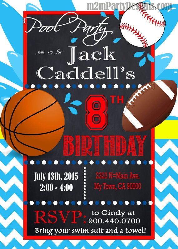 sports pool party invitation custom pool by m2mpartydesigns | m2m, Party invitations