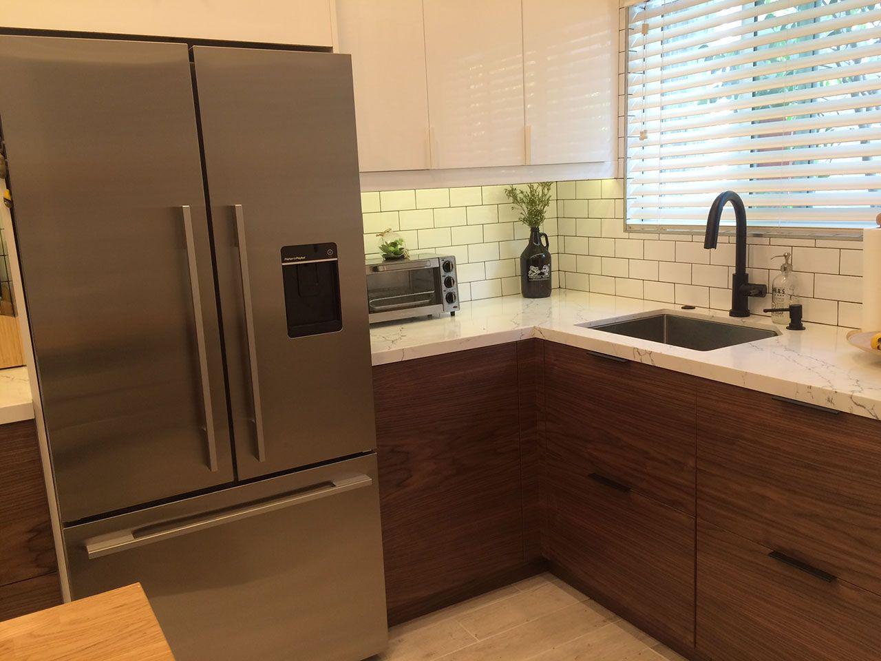 Walnut doors from @semihandmade give this IKEA kitchen a mid-century ...