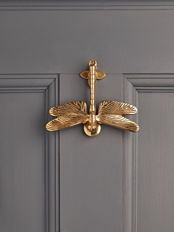 NEW Solid Brass Dragonfly Door Knocker