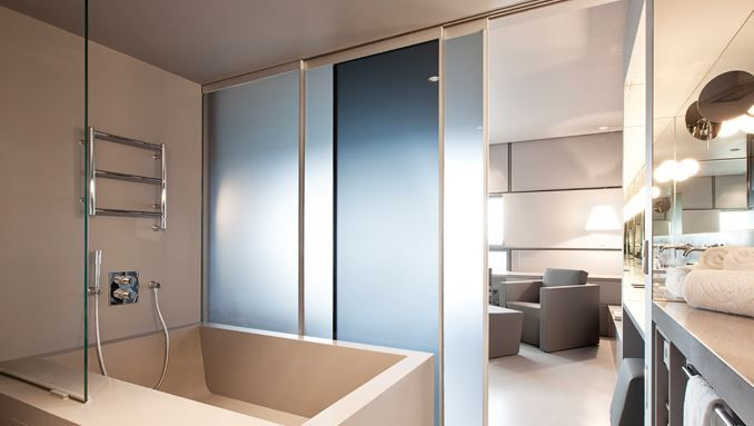 Matelux Clear And Blue Used In Sliding Glass Door Bathroom