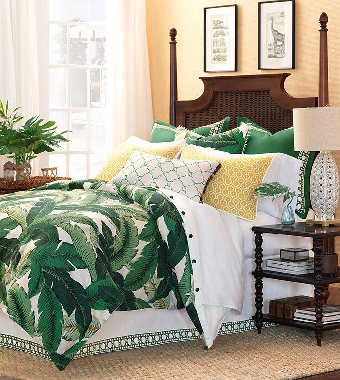 Lanai Green Tropical Bedding Banana Leaf Bedding Tropical Foliage Bedding Dark Green Tropical Bedding Green Coastal Bed Linens Luxury Tropical Bedrooms Home