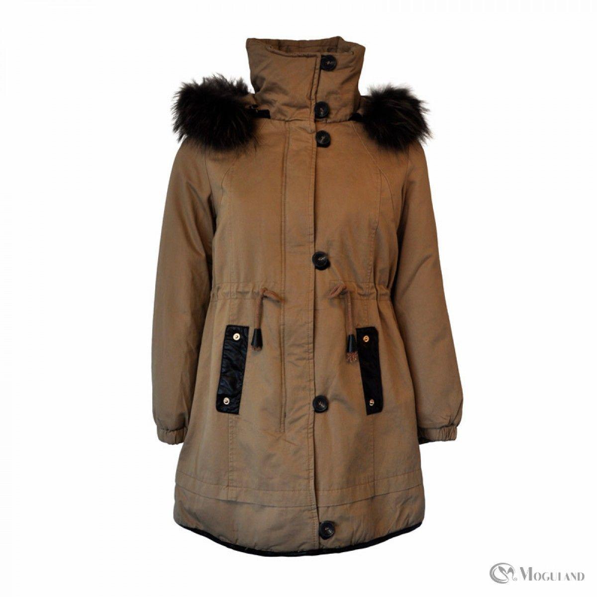 Ladies khaki parka coat with detachable faux fur hood wholesale ...