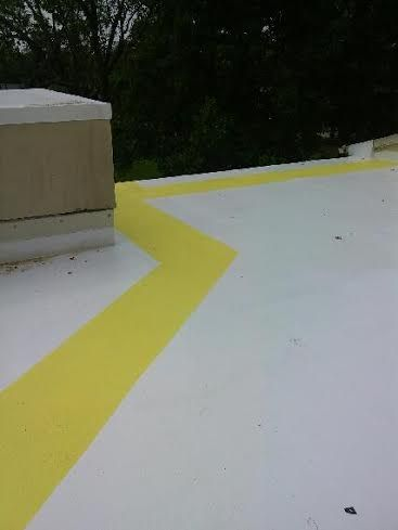Top Coat And Walk Path Done In Gaco Silicone Roof Coating Roof Coating Indianapolis Indiana Roof