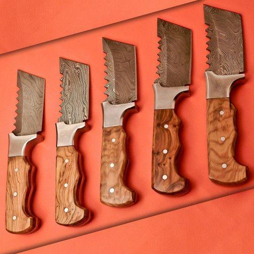 Custom Made Damascus Knives Lot Of 5