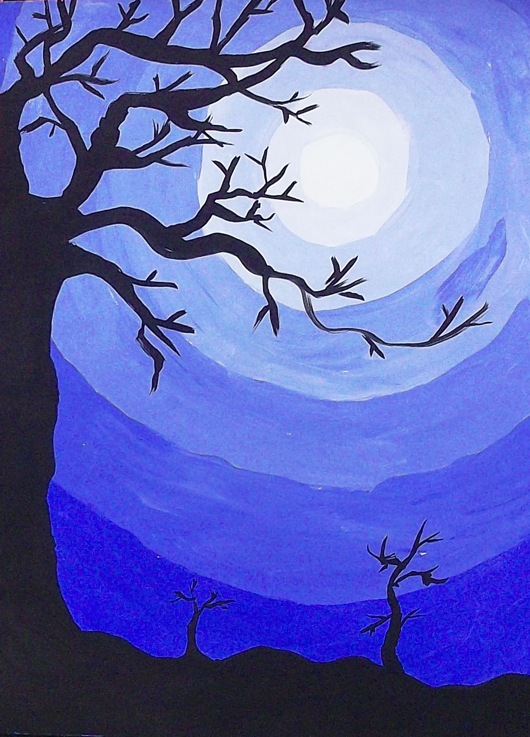 Monochromatic mixing tints - monochromatic - see how darker tree pops out. | art