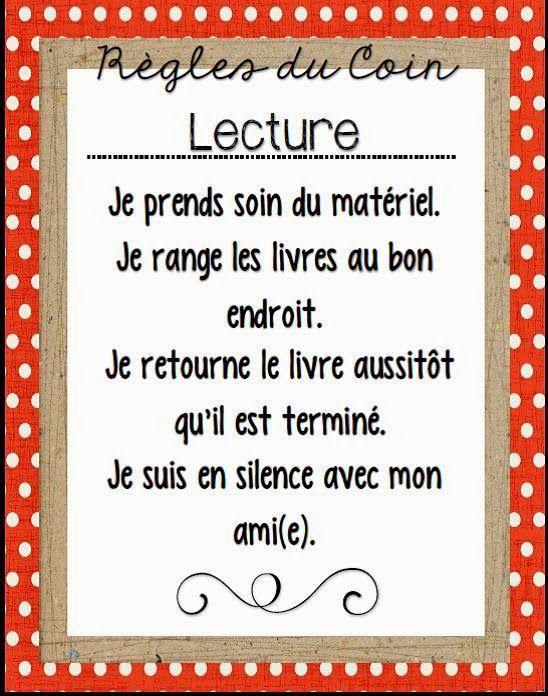 R Gles Du Coin Lecture A L 39 Cole Je Lis Pinterest Coin Lecture Le Coin Et Lecture