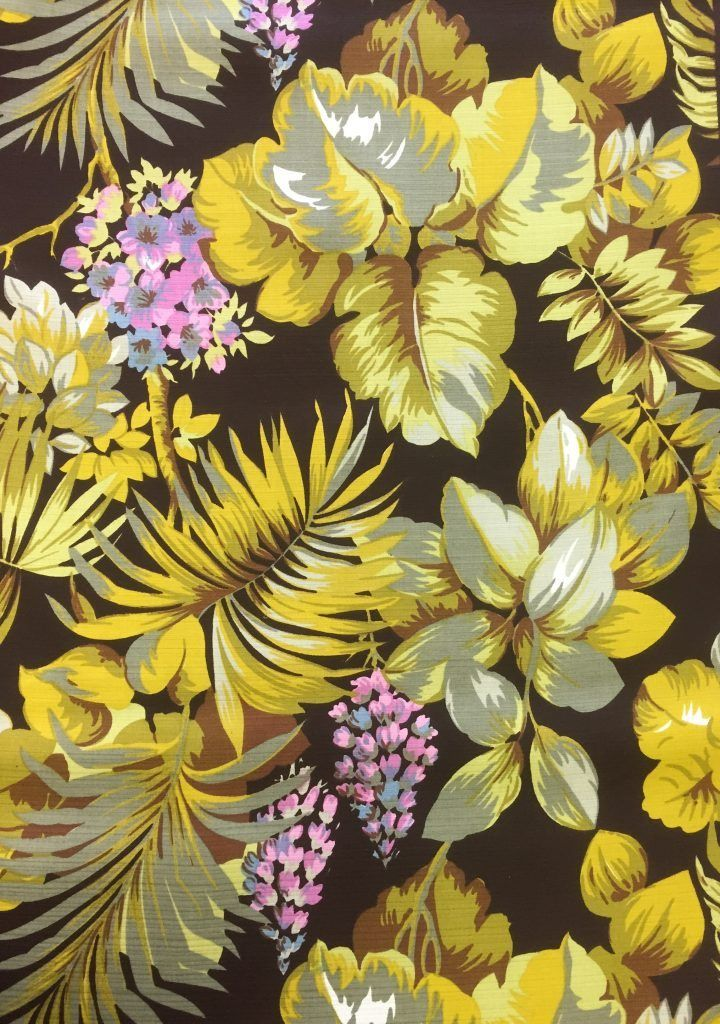 Retro stof met mooie bloemenprint in o.a. groen en geel. Originele ...