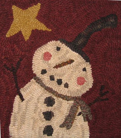Primitive Hooked Rug Marshmallow A