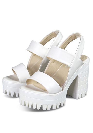 Casual Hidden Sandals Platform High Chunky Shein White Heel 3KcT1lFJ