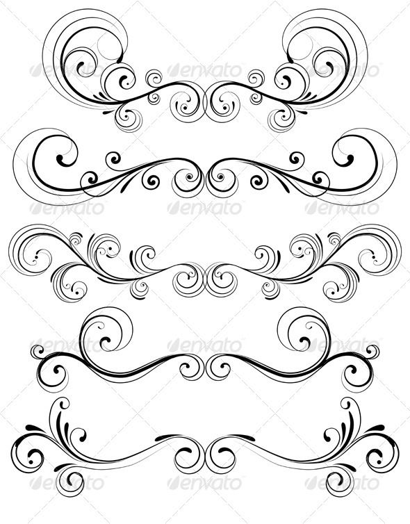 Line Art Resolution : Floral decorative elements flourish and ornament