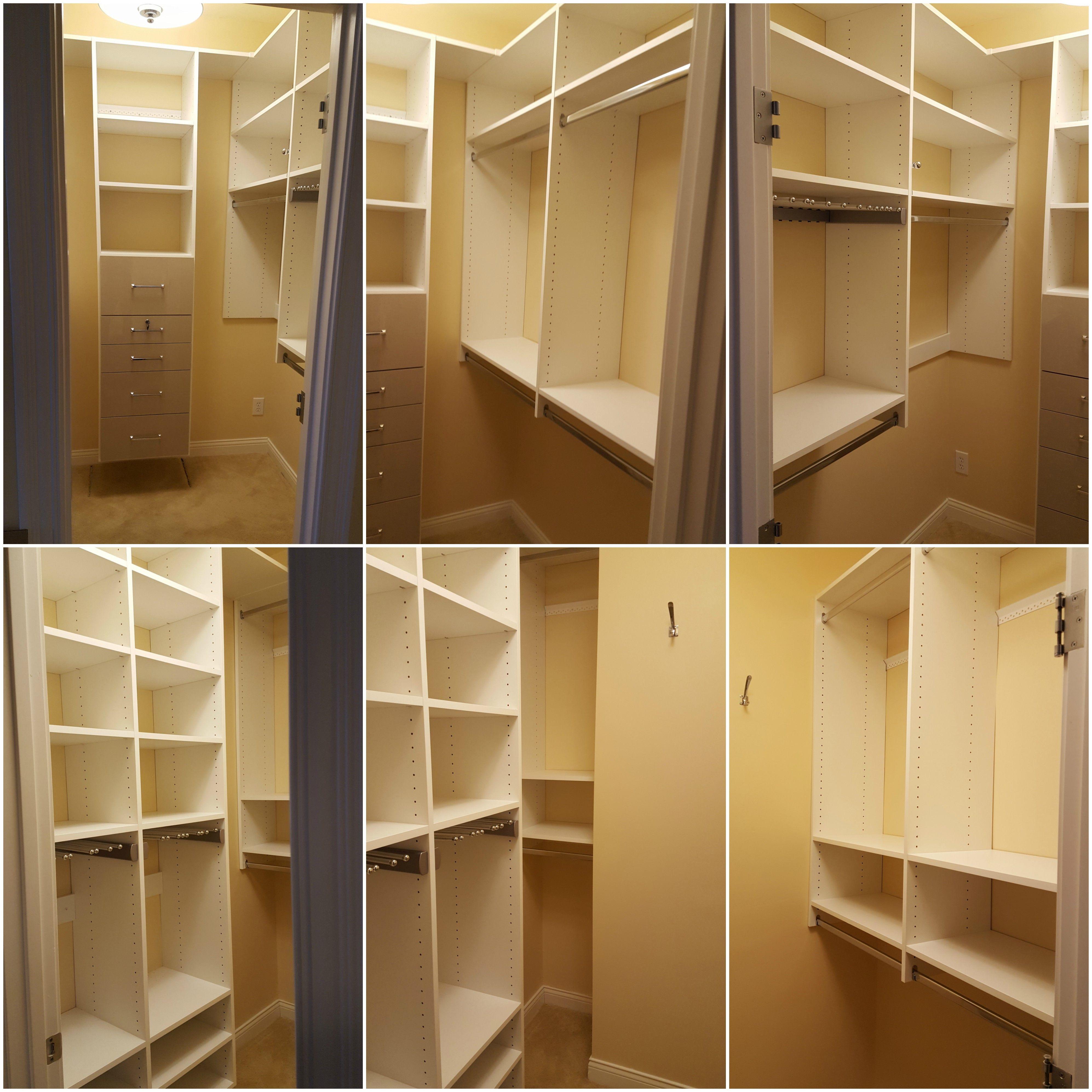 White Melamine Closet With Adjustable Shelving, Double Hang, Long Hang,  Hi Gloss Drawers, And Pull Out Pants Racks.
