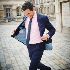 8b3ba117 Men's Pink Shirt With Navy Suit   dress code in 2019   Shirt, tie ...