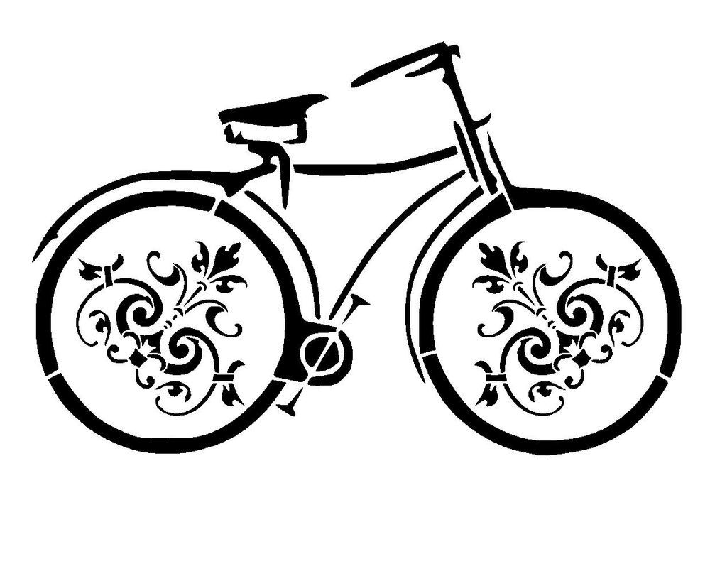 bicycle stencil 3 vintage craft,fabric,glass,furniture,wall art up to A0