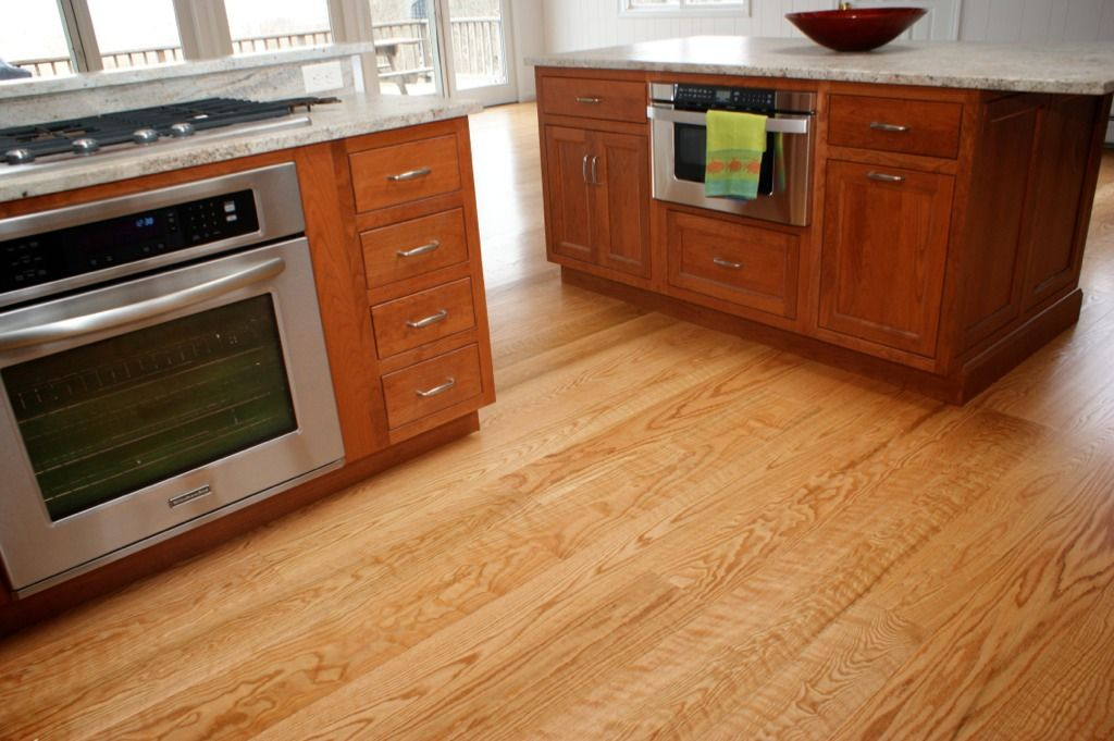 Stunning Modern Select Curly Red Oak Flooring Wooden Style With Marble Countertop Design Combined Traditional Kitchen Cupboard