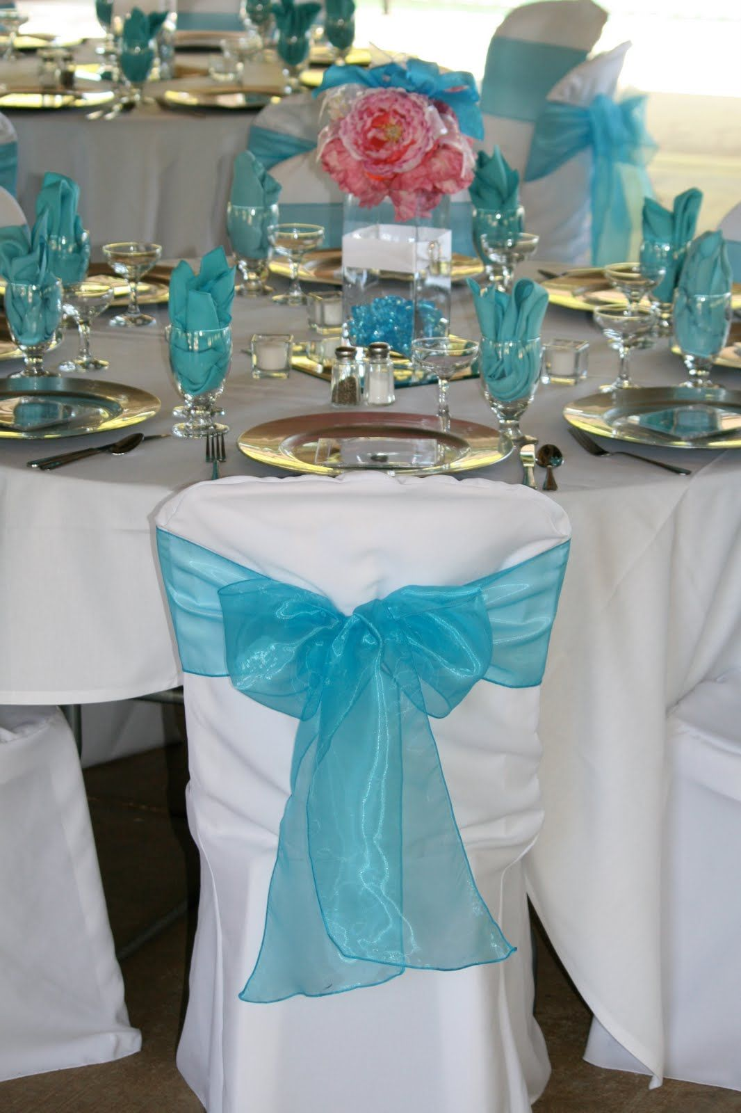 Teal Chair Covers For Wedding Exercise While Sitting In Office Black And Silver Table Decoration Ideas