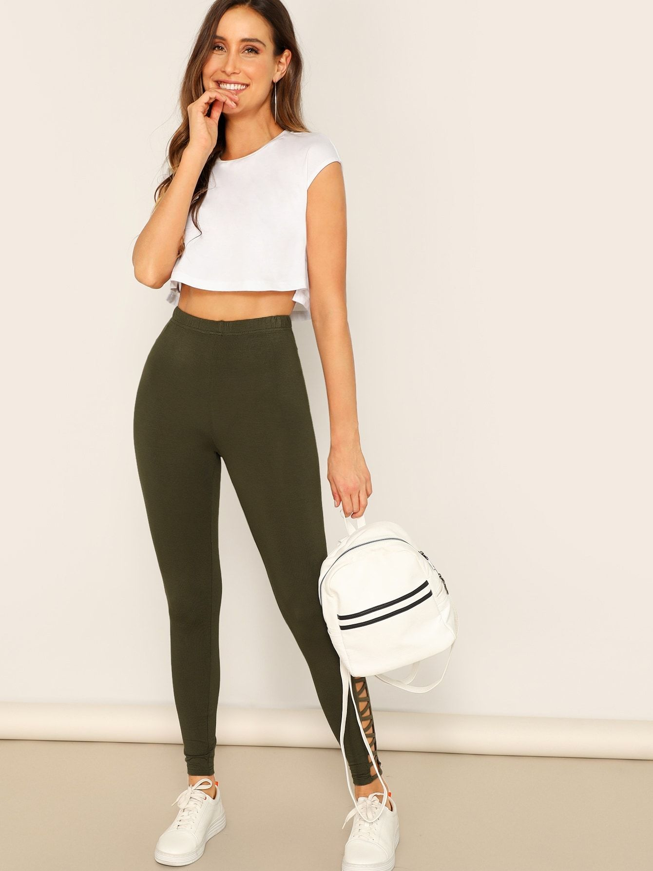 78139c4076f51 Sporty Regular Cut Out Plain Army Green Long Length Cut-out Side Solid  Leggings
