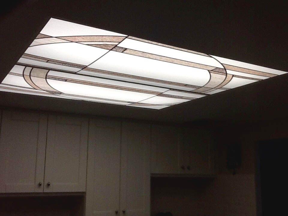 Stained Gl 8 Residential Showcase Fluorescent Light