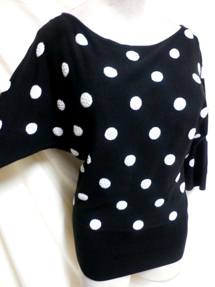 White House Black Market EUC Black & White Beaded Polka Dot Sweater Small #WhiteHouseBlackMarket #Pulloverscoopneck