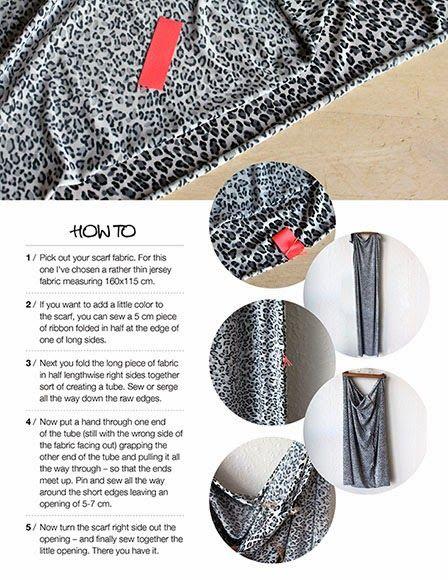 1. Udvælg dit stof! Jeg havde et stykke leopardjersey liggende, som passende kunne blive tryllet om til et tørklæde. Stykket måle...