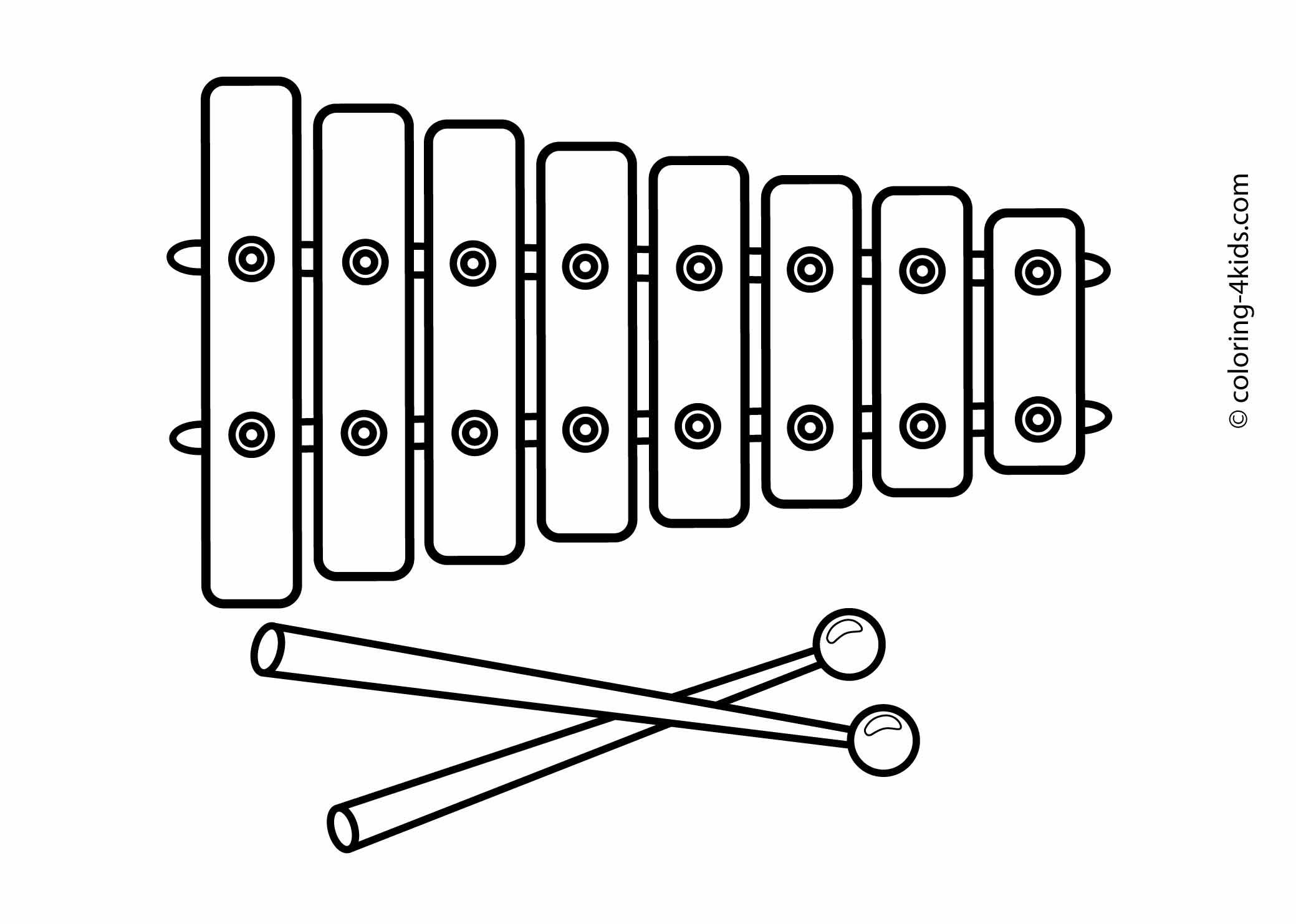 Free coloring pages instruments - Xylophone Musical Instruments Coloring Pages For Kids Printable
