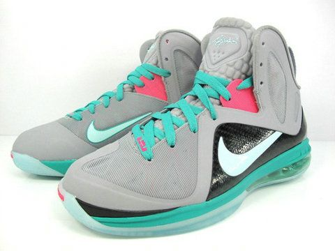 Nike LeBron 9 PS Elite South Beach Miami Vice,Style code:516958-001,Colorway:  Wolf Grey/Mint Cindy-New Green-Pink Flash,Technology: Hyperfuse,  Flywire,The ...