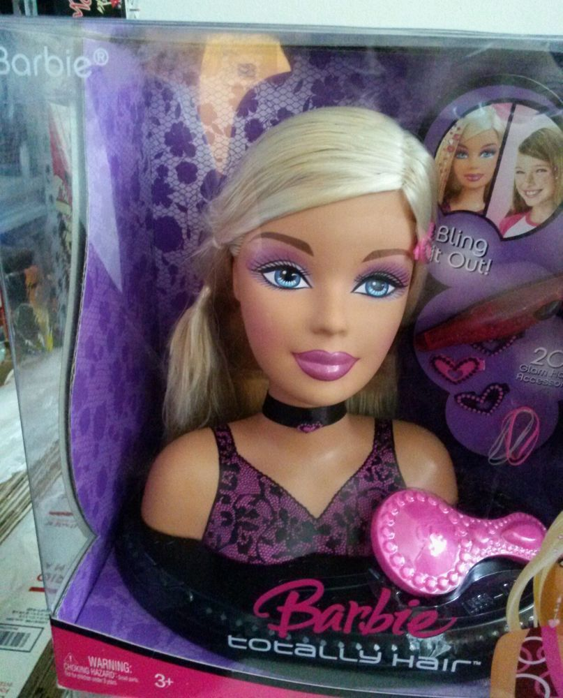 2007 Barbie Totally Hair Styling Head 20 Piece Set Ultra Rare 2007 New In Box Glam Hair Barbie Styling Head Hair Styles