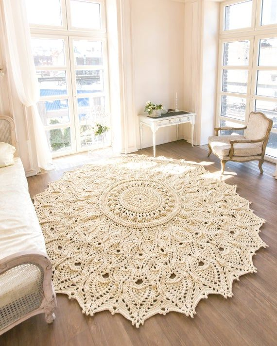 """Große Häkeln Teppich, runder Teppich (118 In), Deckchen Teppich, Garn-Spitze-Matte, Landhaus Kinderzimmer Teppich, rustikale Boden Dekor von LaceMats """"LaceAsterMax8"""