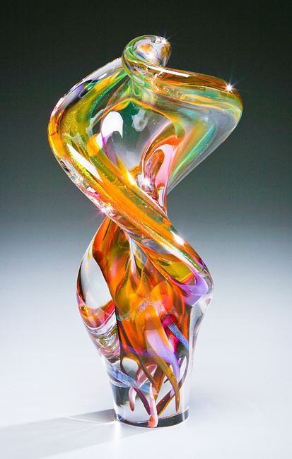 Helix Twist Sculpture   Goldhagen Studios Glass   Blown glass art, Glass  sculpture, Glass art sculpture