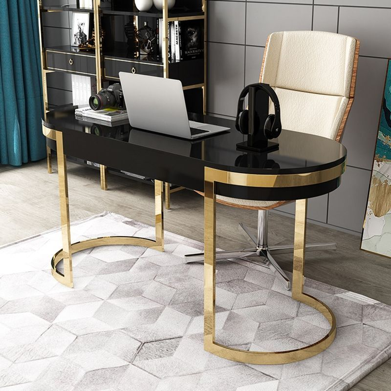 Black Office Desk Modern 55 Gold Writing Desk With 2 Drawers Stainless Steel Legs Lacquer Oval Desk Des In 2020 Black Desk Office Gold Office Decor Glass Desk Office