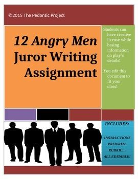 12 Angry Men Writing Assignment Writing Assignments Pre Writing Activities Pre Writing