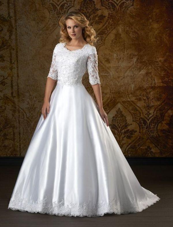 Satin Sheer Neckline Wedding Dress With 3 4 Sleeves RC0048