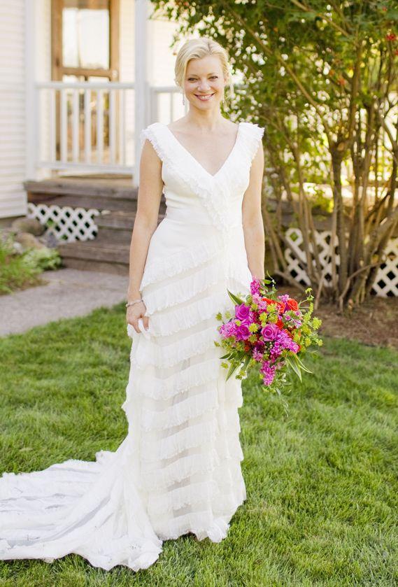 Amy wore Carolina Herrera\'s Columbine wedding gown, a v-neck, silk ...