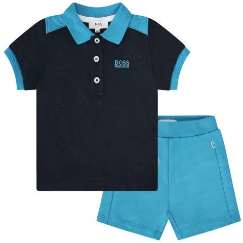 6c408883feb0 BOSS Baby Boys Navy Polo Top   Turquoise Shorts Set